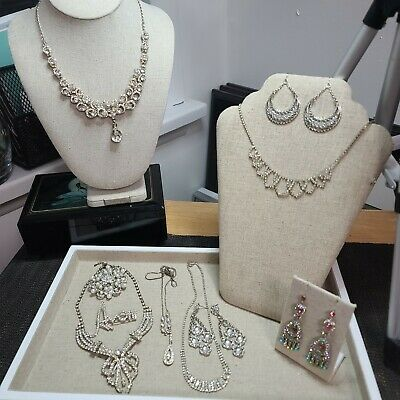$ CDN75 • Buy Vintage Rhinestone Jewelry Lot Of Necklace, Brooches And Earrings