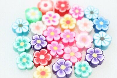 Polymer Clay Flower Shape Beads Spacer Loose Mix Color DIY Jewelry Making 20pcs • 2.69£