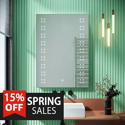£89.99 • Buy Bathroom Mirror With Shaver Socket 500x700 With LED Light Heated Demister Touch