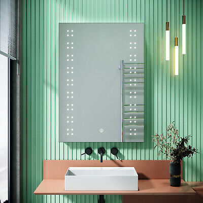 LED Illuminated Bathroom Mirror With Shaver Socket Demister Touch IP44 500x700mm • 59.99£