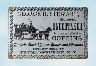 George H. Stewart Undertaker And Coffins Metal Tin Sign Cheap Plaques • 11.57£