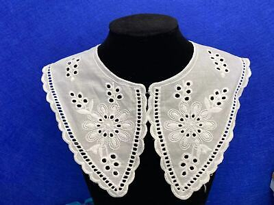 Lace Collar, New Season Style, Sewn On Dressmaking, Polyester Cotton. Ivory L7 • 3.95£
