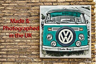 VW Turquoise Bay Windowed Camper Van Art Effect Canvas Print Picture 10 X10  • 19.99£