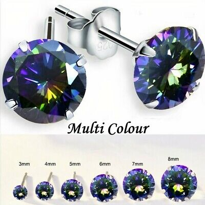 Northern Lights 925 Solid Sterling Silver Cubic Zirconia Round Stud Earrings • 2.99£