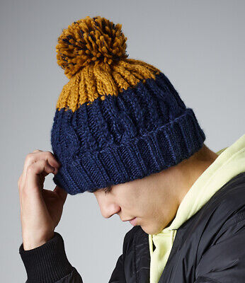 £9.45 • Buy Cable Knit Beanie Hat Ski Pom Pom Bobble Woolly Chunky Winter Warm Thermal Band