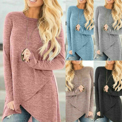 Women Loose Long Sleeve Shirt Tunic Tops Ladies Casual Pullover Irregular Blouse • 5.98£