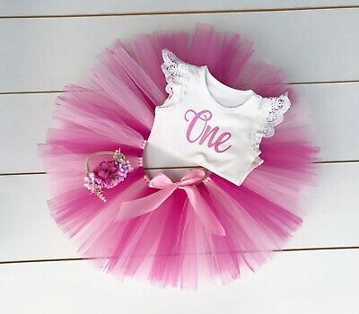 AU45 • Buy Pink 3 Piece First Birthday Outfit - Cake Smash Outfit - Tutu Baby Girl 1st