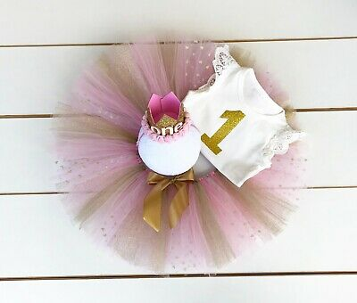 AU45 • Buy Light Pink & Gold Cake Smash Outfit - 3 Piece First Birthday Tutu Set Baby Girl