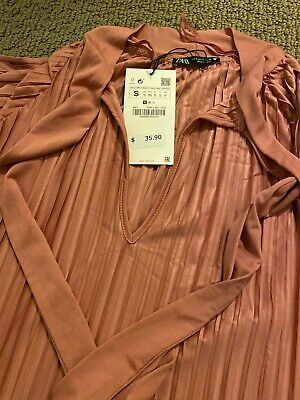 $30.50 • Buy Women Zara Pleated Dress, Pink, Size Small, New With Tags
