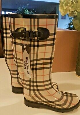 New Womens Ladies Calf Festival Wellies Waterproof Rain Check Patern  Boots • 14£