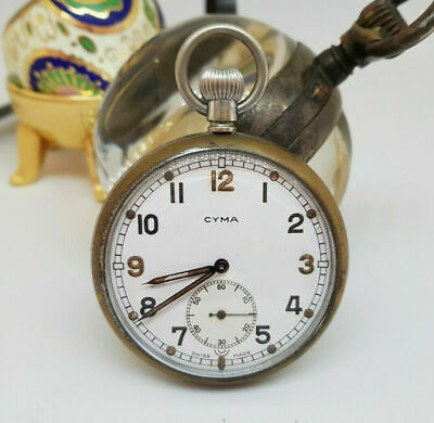 Vintage Cyma Military Pocket Watch White Dial • 165£