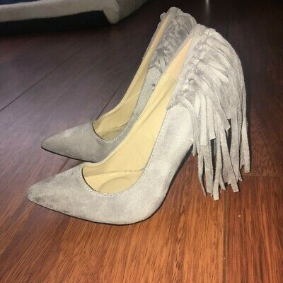 £9.99 • Buy Grey Suede Pointy Court Heels Tassel Fringe Size 4 From Missguided Shoes