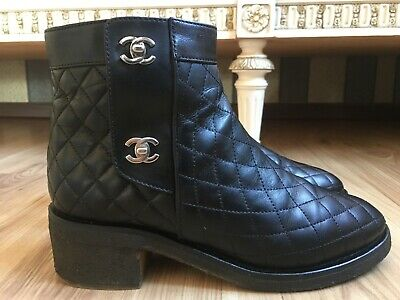 £460.19 • Buy Authentic CHANEL Quilted Leather Boots Logo CC