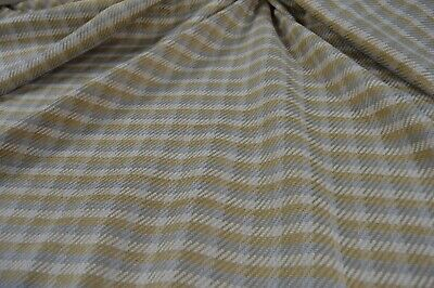 £7.99 • Buy Blue Cream Sand Upholstery Fabric Wool Twill Effect Checked Robust Durable