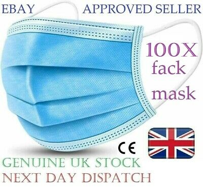 100 Disposable Face Mask Surgical 3 Ply Mouth Guard Cover Face Masks Protection • 9.99£