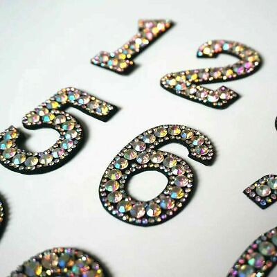£1.69 • Buy Rhinestone Sparkle Number Patch Patches Iron On Alphabet Embroidery Clothes