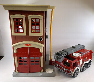 Fisher Price Imaginext Rescue Firefighter Fire Station House And Fire Truck Lot • 26.77£