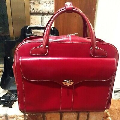 McKlein USA Red Leather Womens Laptop Business Travel Bag With Detachable Wheels • 82.25£