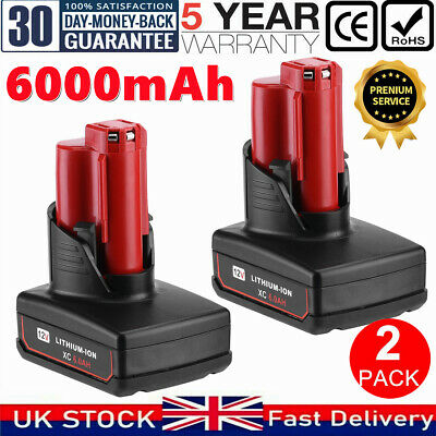 2X 6.0Ah For Milwaukee M12 LITHIUM ION XC High Capacity Battery 12V 48-11-2402 • 35.29£