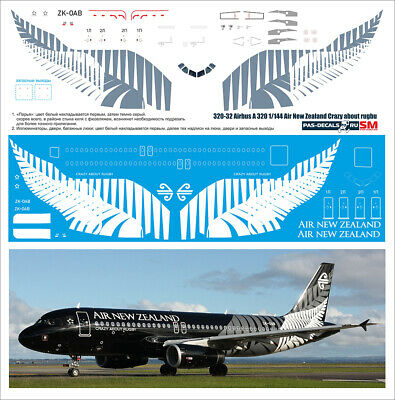 1/144 PAS-DECALS ZVEZDA REVELL  Airbus A 320  Air New Zealand Crazy About Rugby • 14.29£