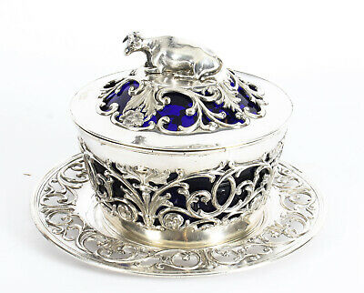 Antique Old Sheffield Silver Plated & Bristol Blue Glass Butter Dish 19th C • 575£