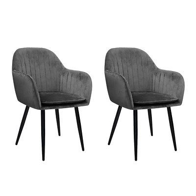 AU134.95 • Buy Artiss Set Of 2 Dining Chairs Retro Chair Metal Legs Replica Armchair Velvet Gre