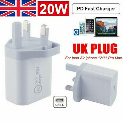 £3.99 • Buy UK Plug PD 20W USB-C Type C Fast Wall Charger Adapter For IPad IPhone 12 Pro Max