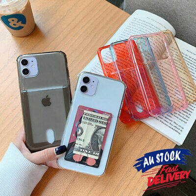 AU7.95 • Buy Soft Clear Slim Wallet Shockproof Card Holder Cover For IPhone 11 12 X Case CAS#