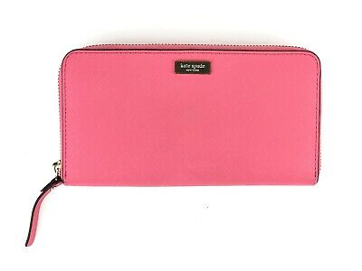 $ CDN44.66 • Buy Kate Spade Hot Pink Leather Zip Around Long Accordion Wallet Interior Pockets