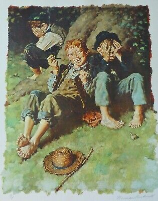 $ CDN1890.36 • Buy NORMAN ROCKWELL Tom Sawyer / First Smoke HAND SIGNED 80/200 1973 Vintage