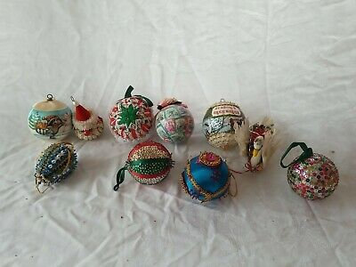 $ CDN25.18 • Buy Lot Of 10 Vintage Christmas Ornaments Fabric Sequins Raccoon Quilted Santa
