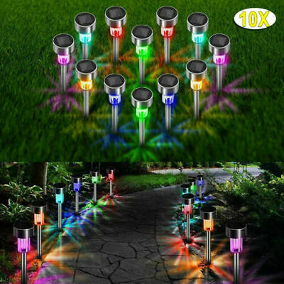 Pack Of 10 Stainless Steel Solar Powered Colour Changing Led Garden Patio Lights • 9.89£