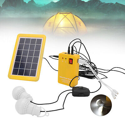Solar Panel Charging Generator With Two Bulbs LED Power Emergency System Kit UK • 17.29£