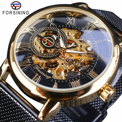 £28.99 • Buy Luxury Mens Watches Mechanical Automatic Self-Winding Stainless Steel Skeleton