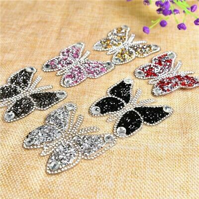 £2.69 • Buy Rhinestone Butterfly Sparkle Patch Patches Iron On Alphabet Embroidery Clothes