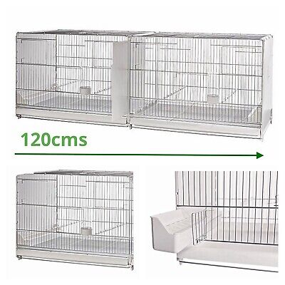 """£110 • Buy 120cm 47"""" Italian Plastic Wire Double Breeding Cage With Divider - Budgie, Finch"""