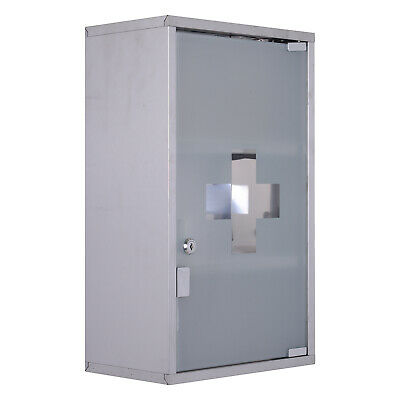 Stainless Steel Medicine Cabinet Wall Mounted Lockable First Aid Cupboard 4 TIER • 25.07£