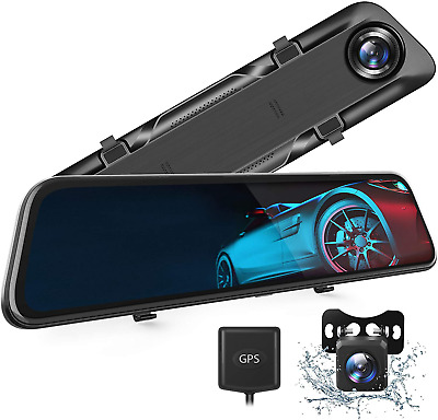 """AU337.89 • Buy 12"""" 4K Mirror Dash Camera For Cars Voice Control Touch Screen Rear View Mirror"""