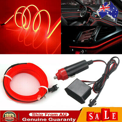AU12.95 • Buy Red 2M LED Car Interior Decor Atmosphere Wire Strip Light Lamp Car Accessories