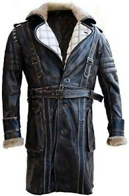 $179.99 • Buy  Men's Elder Maxson Fall Out Brown Distressed Leather Trench Coat With Faux Fur
