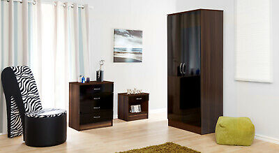 £89.99 • Buy Black Gloss And Walnut 2 Door Double Wardrobe With Soft Close Hinges