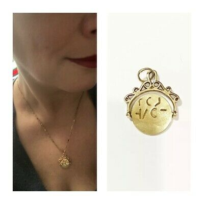 9ct 375 Vintage Gold Large ' I Love You  Spinner Charm / Pendant • 154£