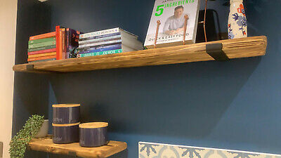 Reclaimed Old Rustic Wood Scaffold Board Recycled Industrial Shelf With Brackets • 40£