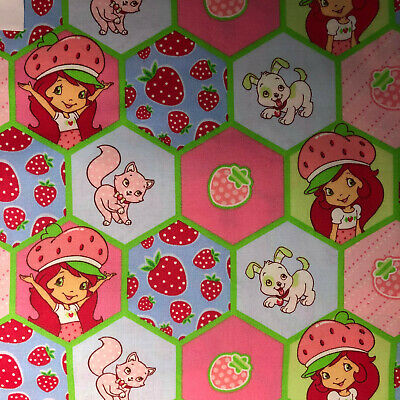 FABRIC FQ Cotton Quilt Pink Red Girl Doll Strawberry Shortcake Cat Dog  • 7.59£