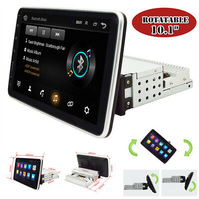 $221.51 • Buy Rotatable Single 1Din 10.1'' Quad Core Android 9.1 Car GPS WiFi MP5 Player 1+16G