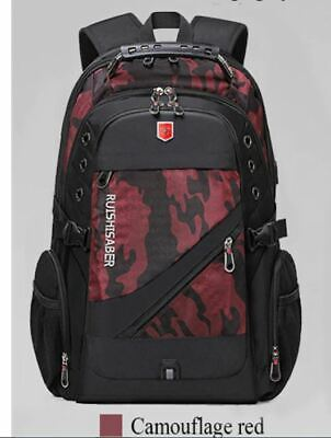 Oxford Swiss 17Inch Laptop Backpack Men USB Charging Waterproof Camouflage Red • 32.78£
