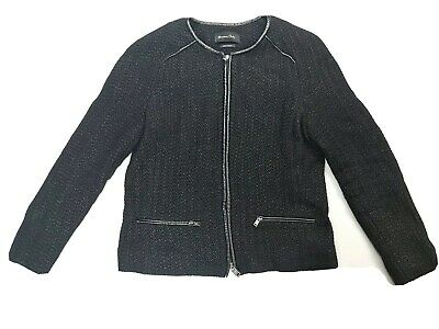 AU39.55 • Buy Massimo Dutti Black Weave Textured Womens Jacket Size AU10 S EUR38