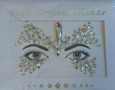 Face Crystal Stickers Mask Christmas Costume Night Out Gem Party Jewellery • 7.99£