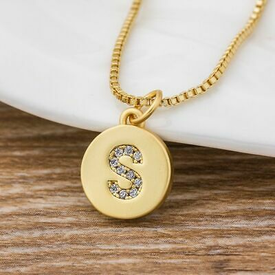 £7.96 • Buy First Name Letter Pedant Necklace Gold Color Round Women Initial Gift