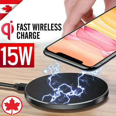 $ CDN11.45 • Buy 15W Qi Wireless Charging Charger For IPad IPhone 11 Pro Max XR Samsung S10 S20